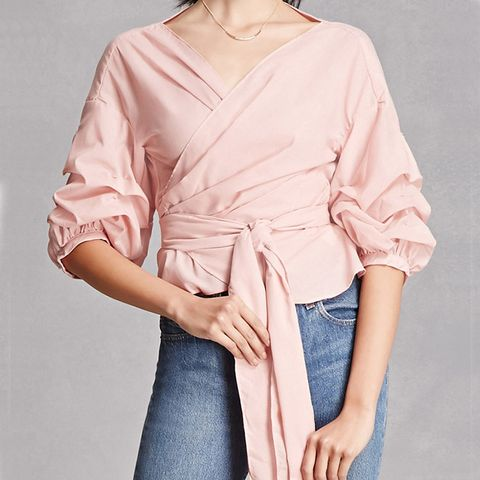 Self-Tie Ruffled Top