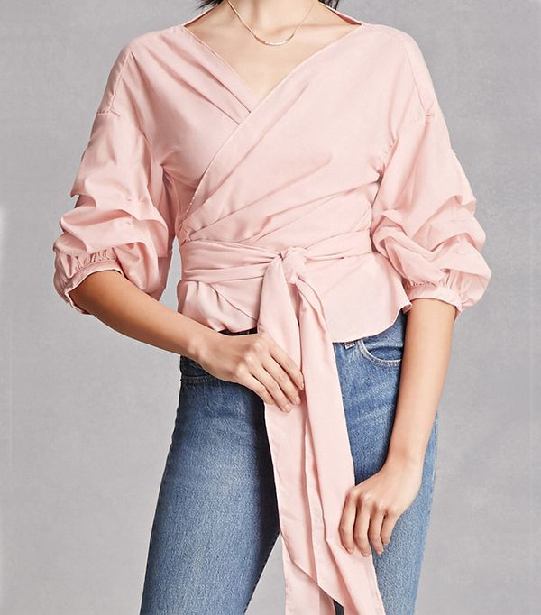 Forever 21 Self-Tie Ruffled Top