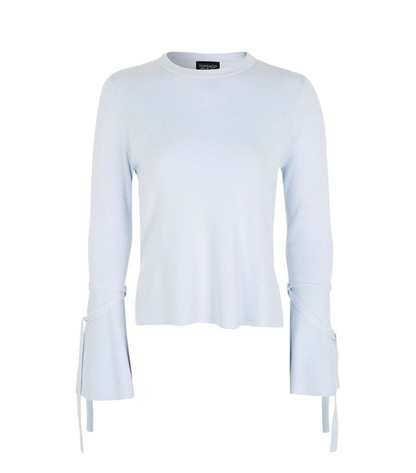 Topshop Tie Sleeve Fluted Top