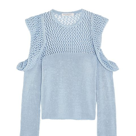 Cutout Open-Knit Cotton Sweater