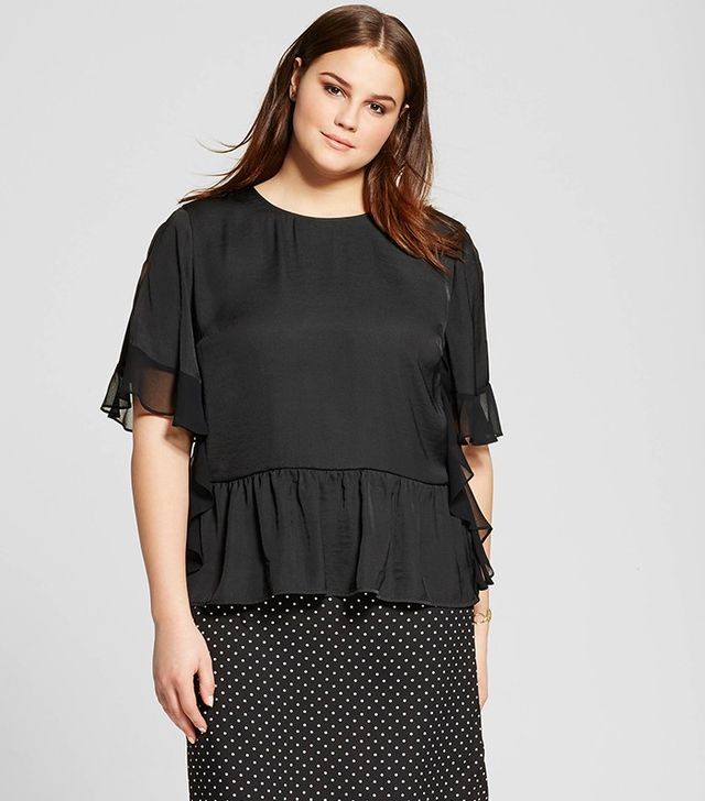 Who What Wear for Target Women's Plus Size Fabric Mix Ruffle Top