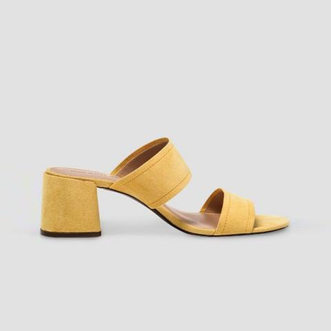 Carolina Double Band Block Heel Slide Sandals
