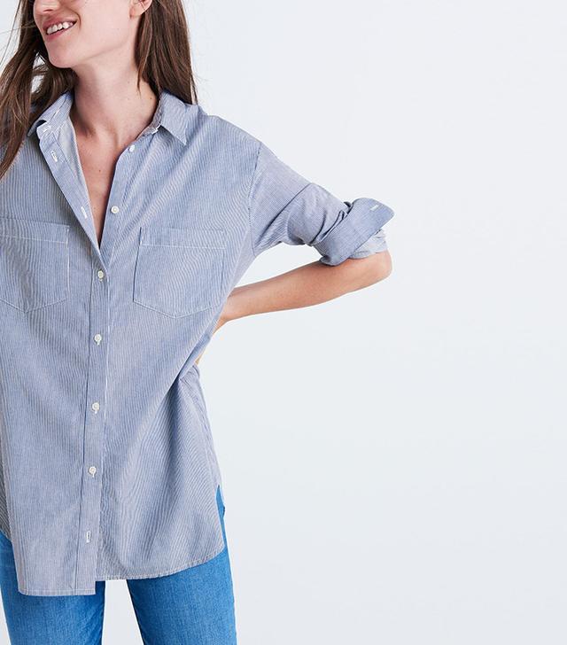 Madewell Oversized Ex-Boyfriend Shirt in Stripe
