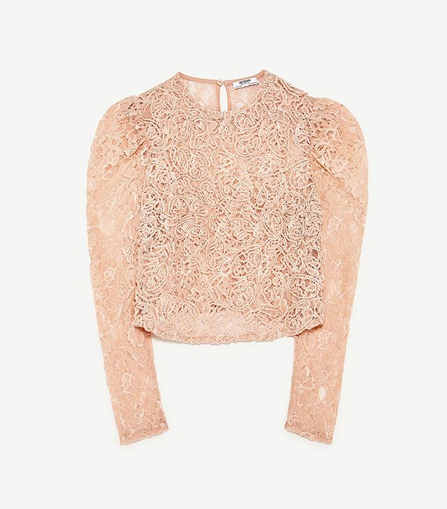 Zara Cropped T-Shirt with Lace
