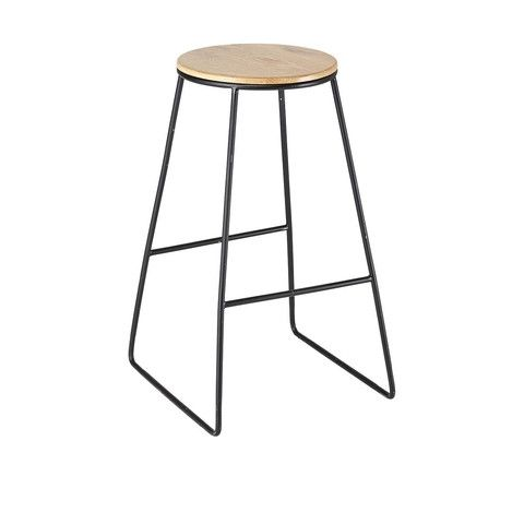 Industrial Stool - Natural & Black