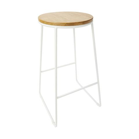 Industrial Stool - Natural & White