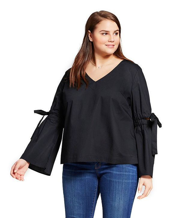 Who What Wear Plus Size Bell Sleeve Vee