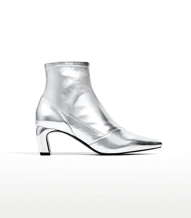 Zara Metallic Elastic High Heel Ankle Boots