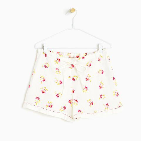Floral Print Linen Shorts