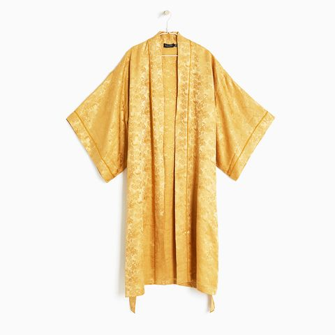 Floral Motif Faux Silk Dressing Gown