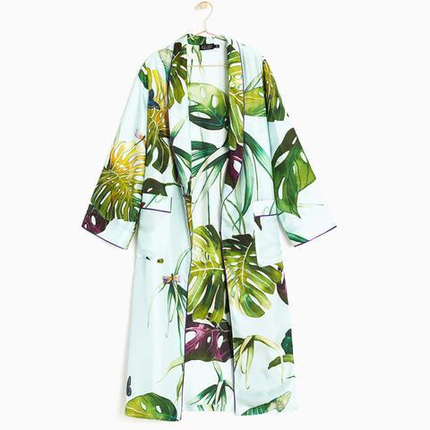 Tropical Print Silk Dressing Gown