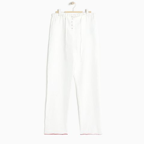 Linen Trousers With Contrasting Trims