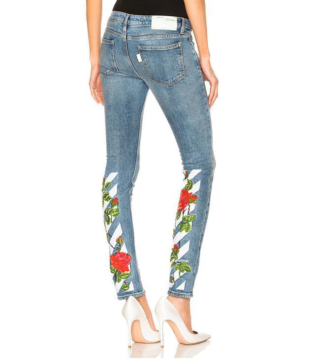 Off-White Diagonal Roses Skinny 5 Pocket Jeans