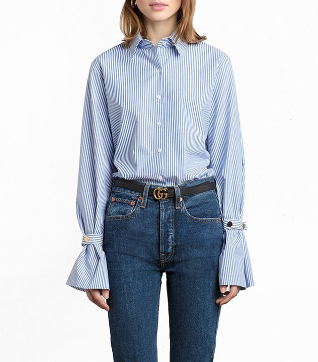 Pixie Market Striped Gold Button Cuff Sleeve Shirt