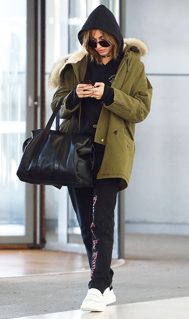 Need a go-to airport outfit? Let Hailey lead the way with her comfy yet street style–worthy look. In cases like this, two hoods are definitely better than one.On Hailey Baldwin: Enfants Riches...