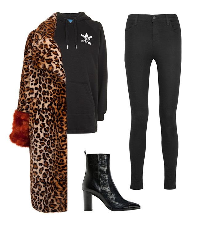 Shop the Look: Baum Und Pferdgarten Davan Leopard Coat ($450); Adidas Originals Longline 3 Stripe Hoodie ($70); J Brand Photo Ready Maria High-Rise Skinny Jeans ($190); Zara Leather High Heel...