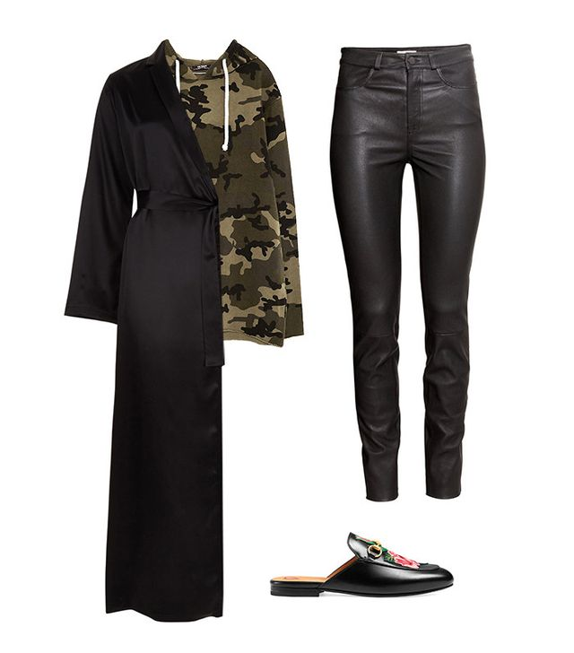 Shop the Look: La Perla Silk Long Robe (464); Zara Camouflage Sweatshirt ($30); H&M Leather Pants ($349); Gucci Princetown Leather Slipper ($750).