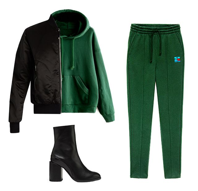 Shop the Look: Acne Studios Azura Satin Bomber Jacket ($590); She In Green Drop Shoulder Hoodie With Pocket ($23); TNA Columbia Pant ($65); Dear Frances Spirit Boots ($550).