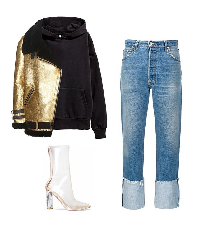 Shop the Look: Acne Studios Velocite Metallic Jacket ($3000); H&M Oversized Hooded Sweatshirt ($30); RE/DONE | Levi's Cuffed Cropped Jeans ($275); Ego Tasha Perspex Clear Ankle Boot ($52).