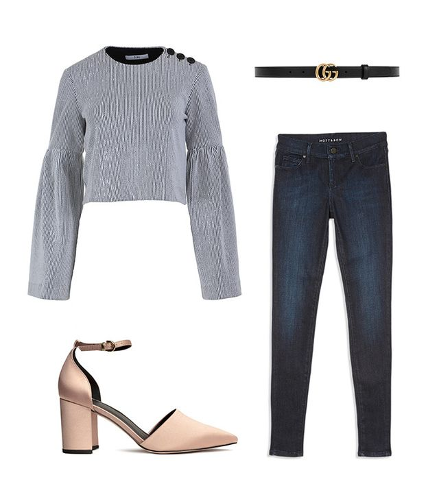 Pictured Above: Tibi Crinkled Ribbed Knit Cropped Top ($375); Gucci Thin GG Leather Belt ($330); Mott & Bow High Rise Skinny Jeans ($108); H&M Open-Sided Pumps ($40).