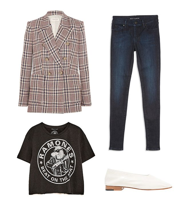 Pictured Above: Étoile Isabel Marant Janey Blazer ($530); Mott & Bow High Rise Skinny Jeans ($108); Martiniano Glove Shoes in Panna ($456); Zara Cropped Ramones T-Shirt ($20).