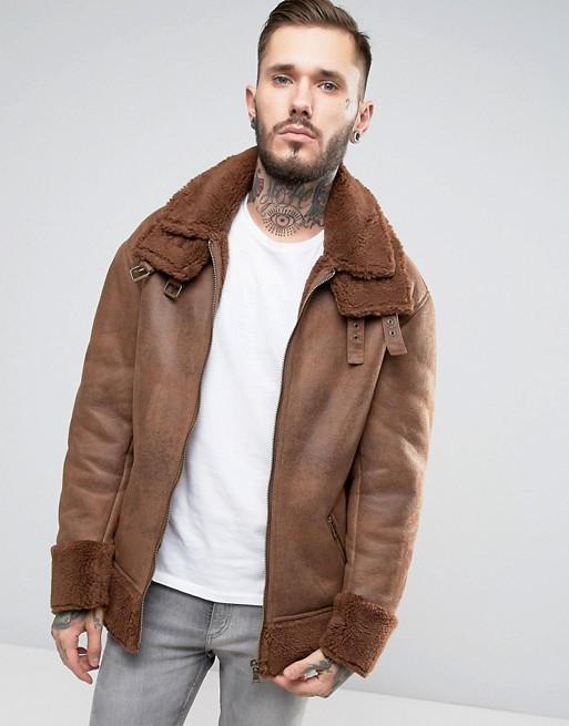 ASOS Men's Oversized Faux Shearling Jacket