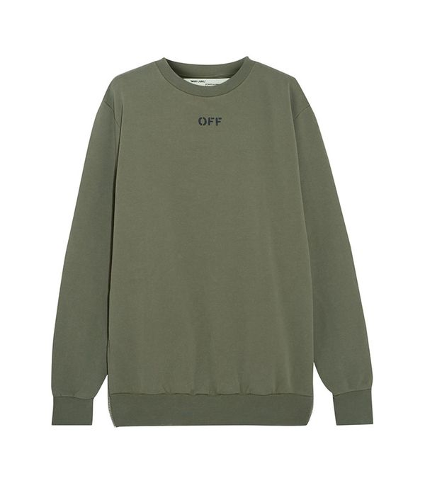 Off-White Distressed Washed Cotton-Jersey Sweatshirt