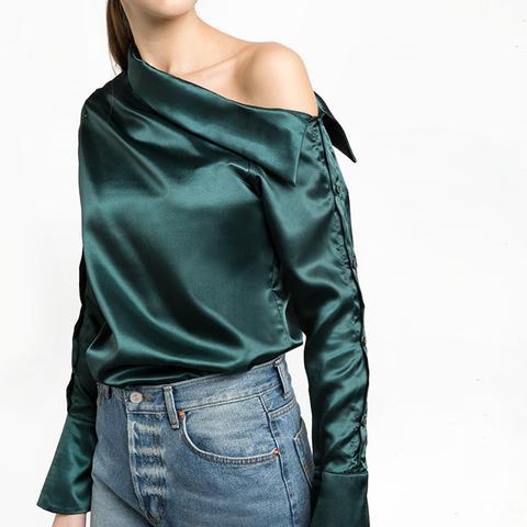 Green Satin Button One Shoulder Shirt