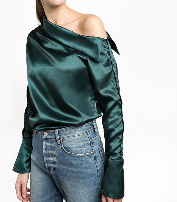 Pixie Market Green Satin Button One Shoulder Shirt