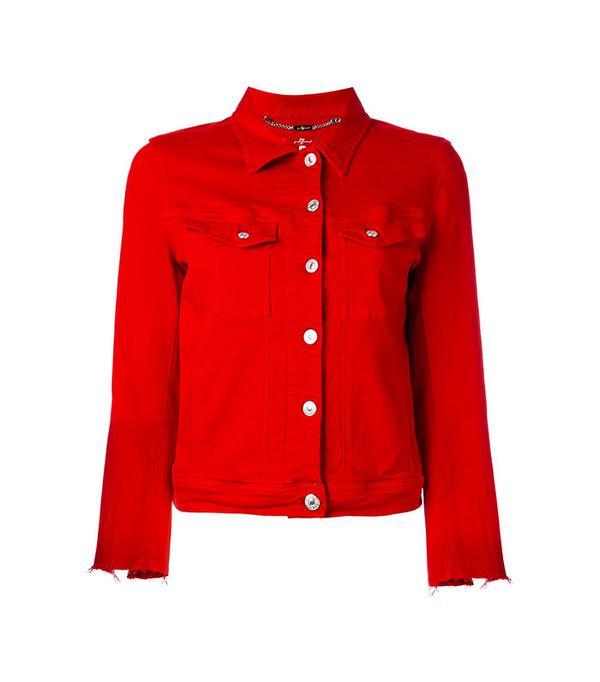 7 For All Mankind Raw Cuff Denim Jacket