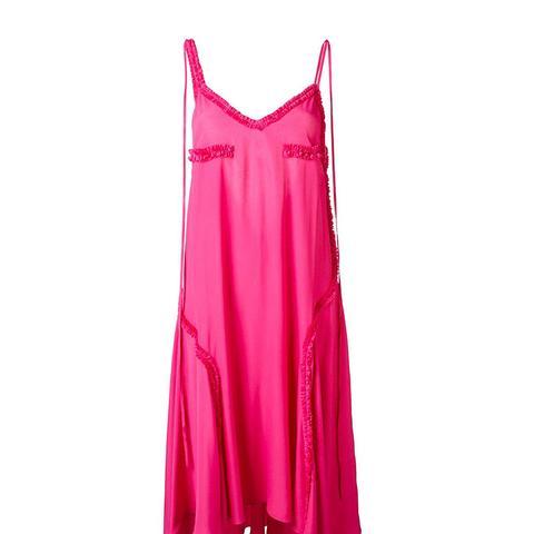 Ruffled Detail Open Back Dress