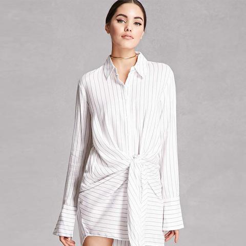 Knotted Striped Shirt Dress