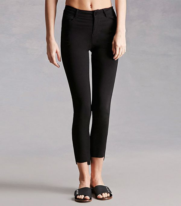 raw-hem black jeans