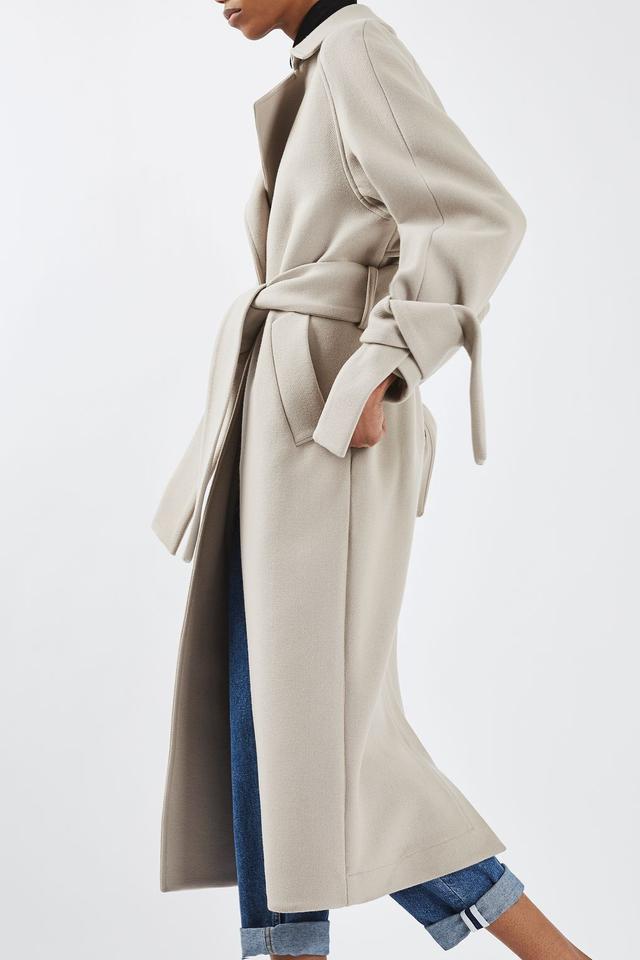 Topshop Tie Wool Sleeve Coat