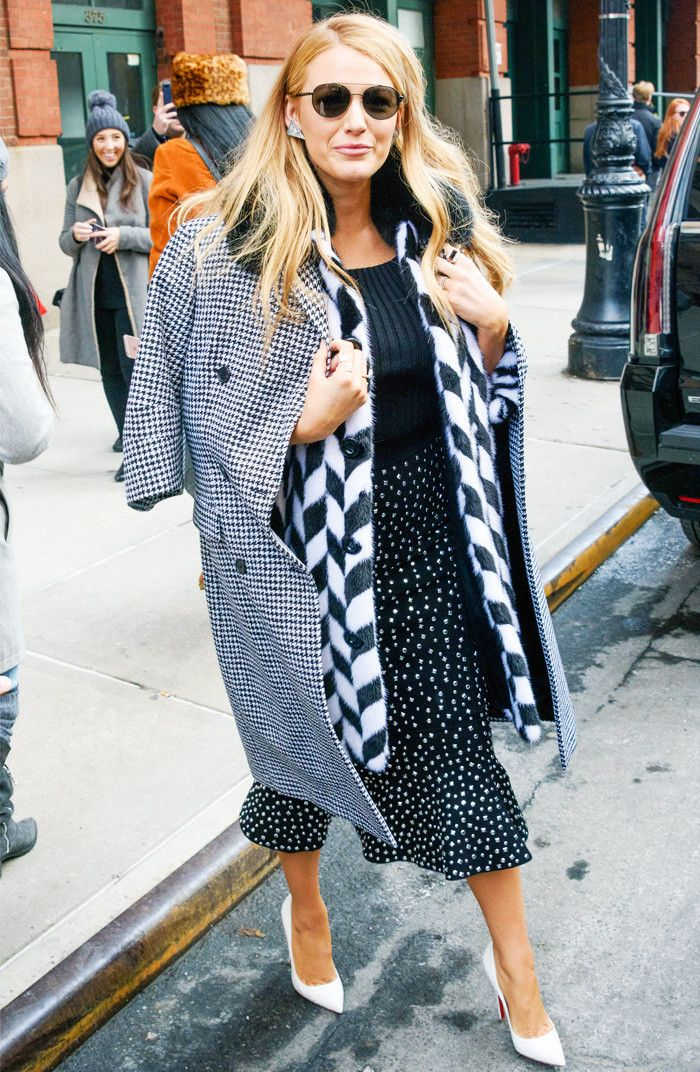 Blake Lively black and white mix and match outfit at New York Fashion Week