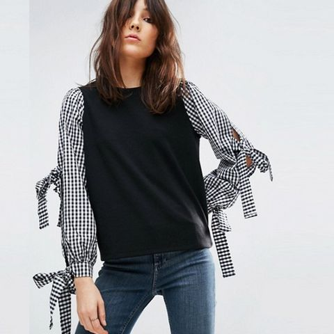 Shell Top in Ponte With Gingham Bow Sleeves
