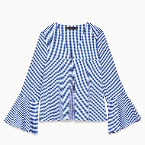 Gingham Top With Bell Sleeves