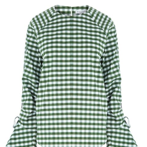 Gingham Ruched Sleeved Top