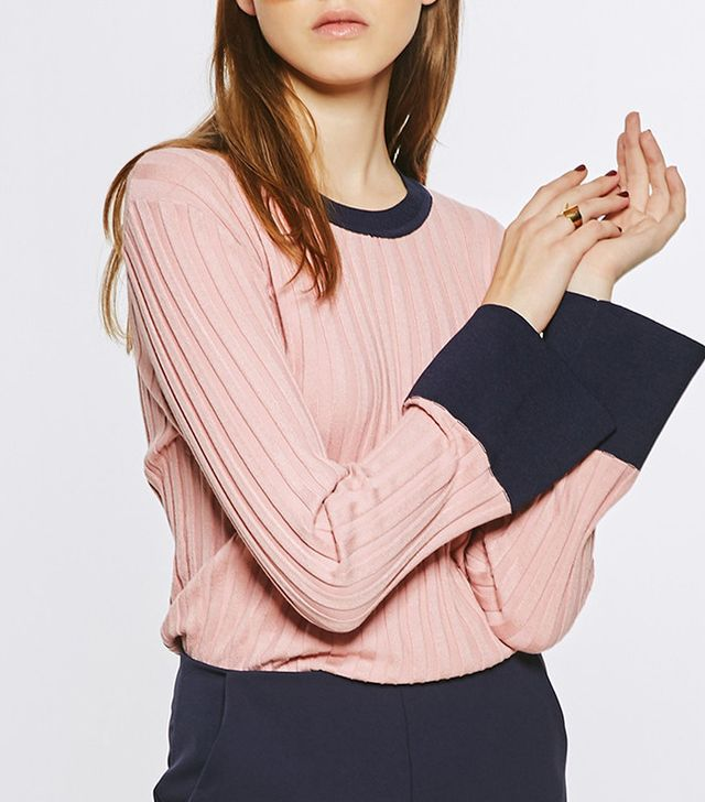Few Moda Pink Ribbed Knit Top With Contrast Cuff