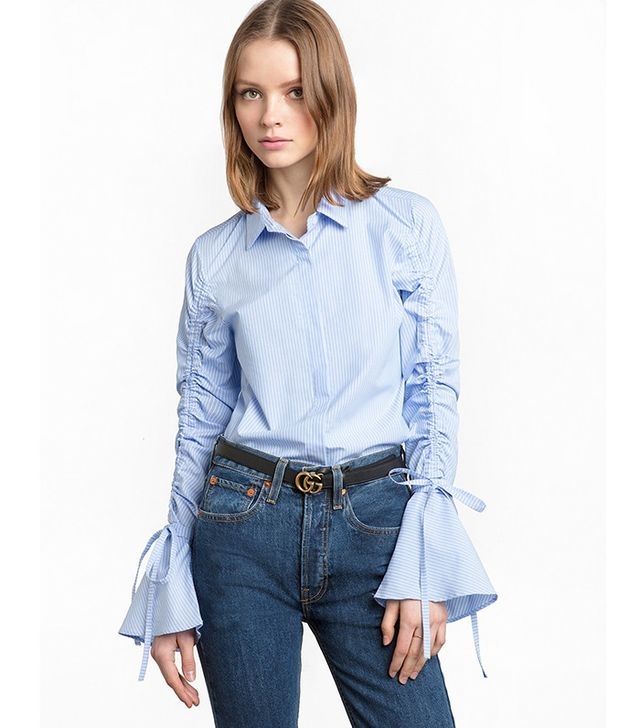 Pixie Market Ruched String Tie Striped Shirt