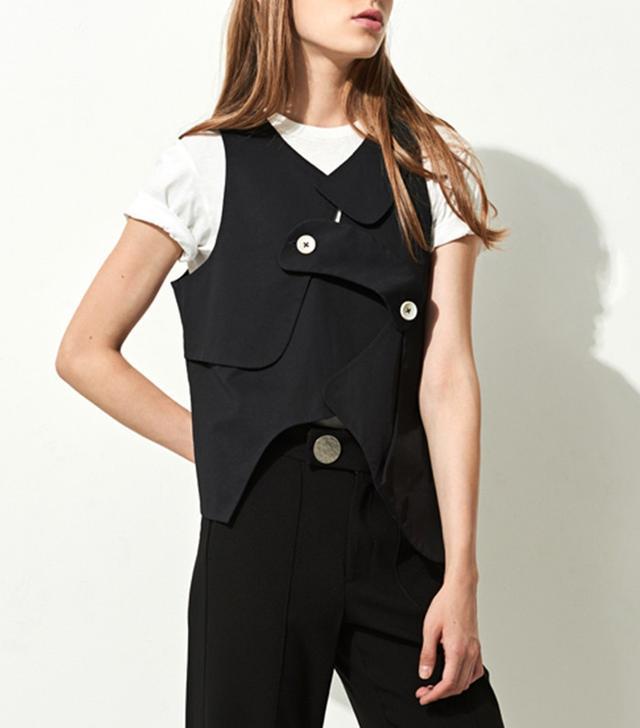 Front Row Shop Black Asymmetric Patchwork Vest