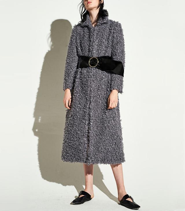 Front Row Shop Gray Longline Yarn Coat