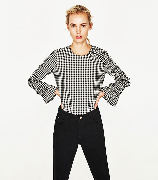Zara Checked Top With Frilled Sleeves