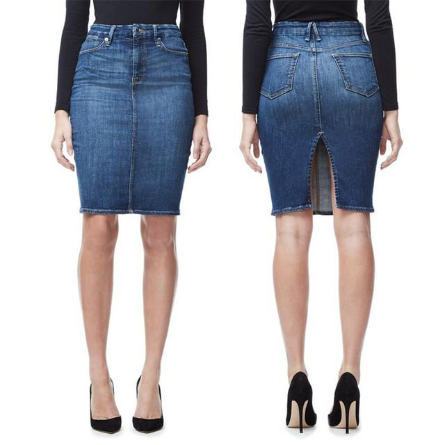 Good American The Pencil Skirt in Blue 046