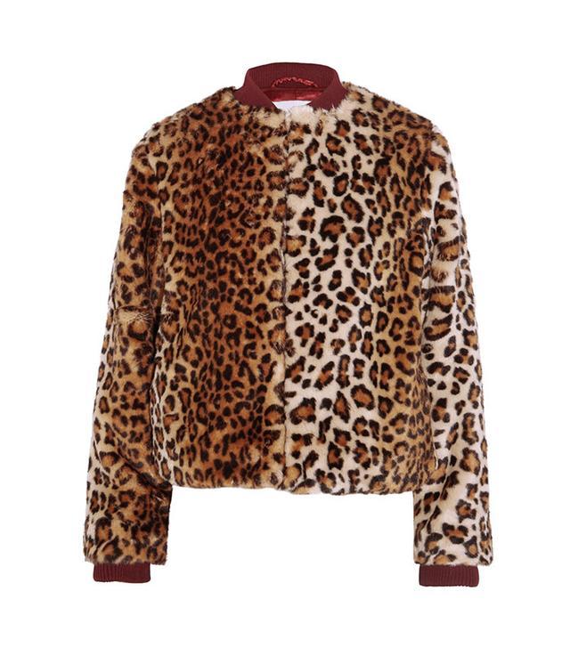 Ganni Ferris Leopard-Print Faux Fur Bomber Jacket