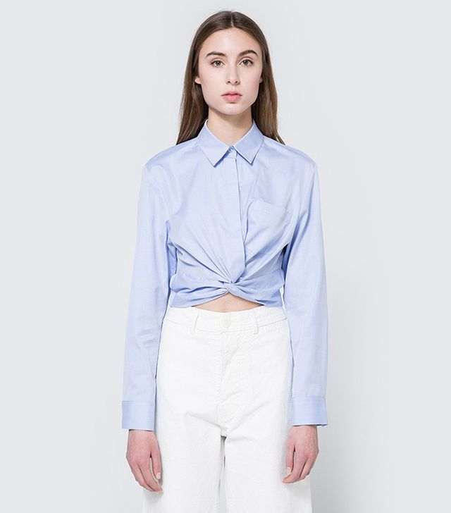 T by Alexander Wang Twist Front Shirt in Chambray