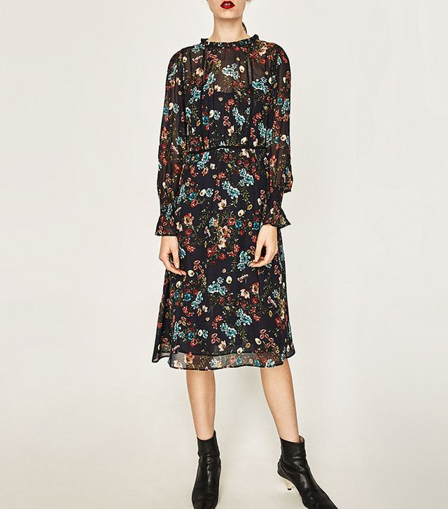 Zara Printed Midi Dress