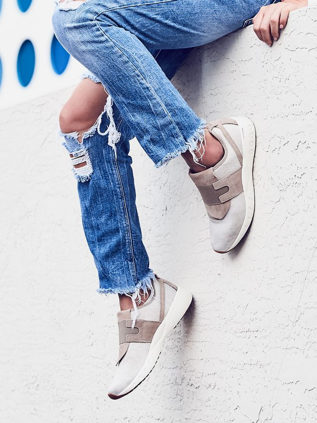 For some serious below-the-ankle action, style your raw-hem denim with these cream-and-beigeERS Deluxe Slip-Ons.