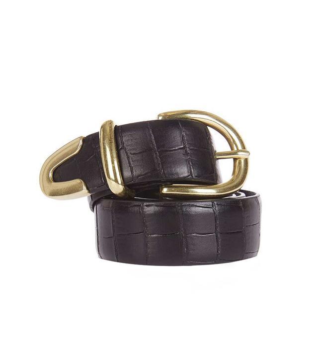 Topshop Leather Croc Jeans Belt