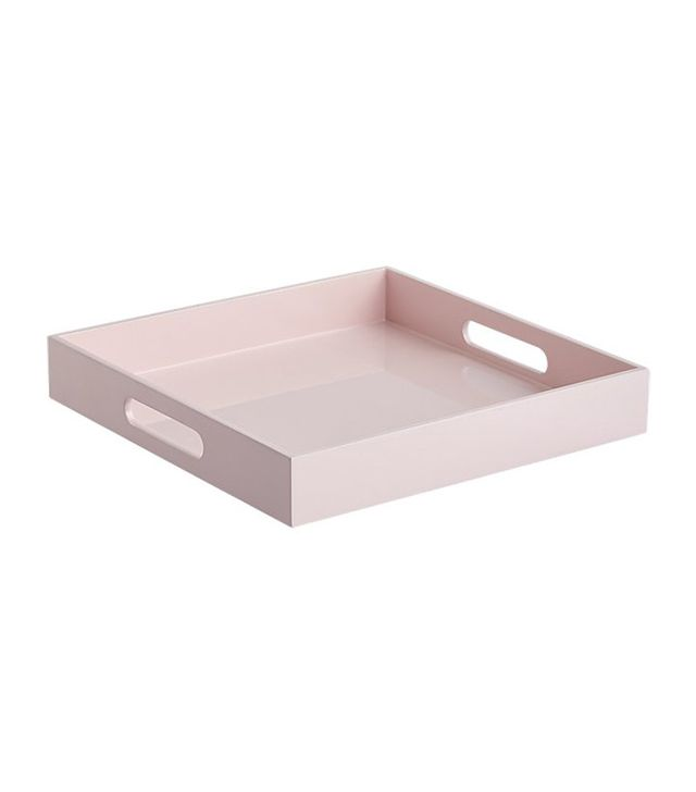 CB2 Hi-Gloss Small Square Pink Tray